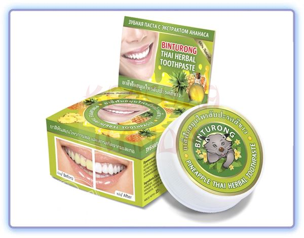 Binturong Pineapple Thai Herbal Toothpaste Круглая зубная паста с экстрактом ананаса