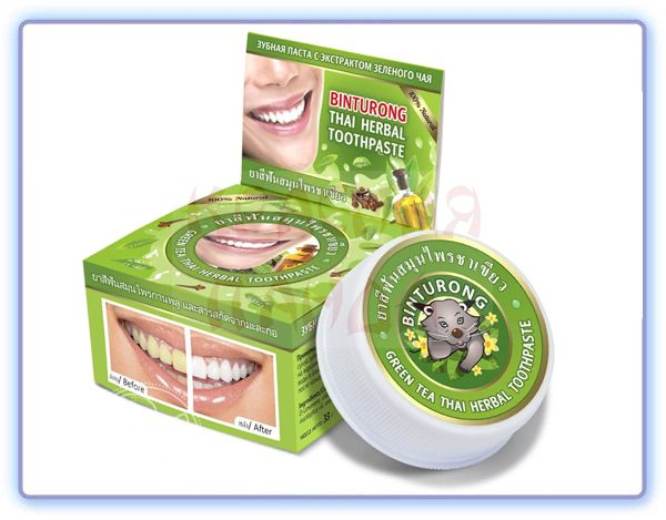 Binturong Green tea Thai Herbal Toothpaste Круглая зубная паста с экстрактом зеленого чая