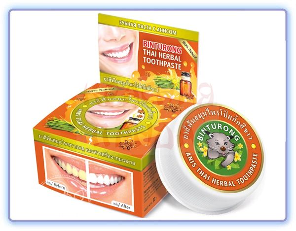 Binturong Anis thai herbal toothpaste Круглая зубная паста с анисом