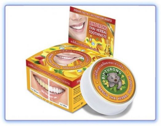 Binturong Mango Thai Herbal Toothpaste Круглая зубная Паста с Экстрактом манго