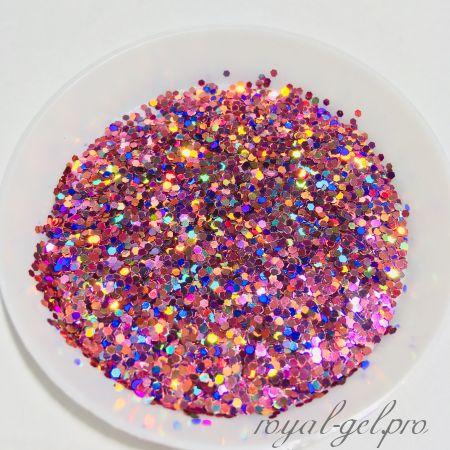 "Конфетти шестигранник 1/24""(1.0mm)040 LB911(Laser Dark Pink)"