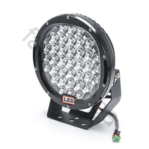 Круглая светодиодная фара-прожектор  дальнего света 185 ватт. черный корпус
