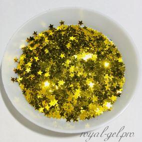 Конфетти звездочки 3mm Star B0205(Gold)