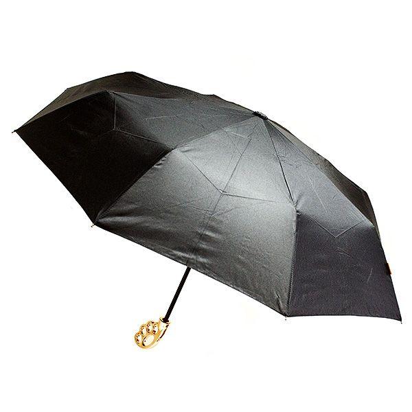 Зонт Кастет черный с золотой ручкой