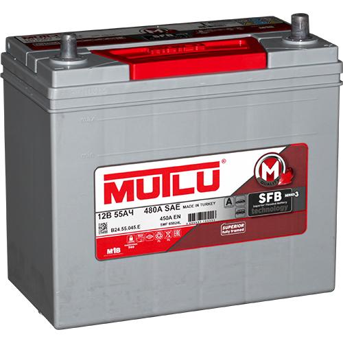 Автомобильный аккумулятор АКБ MUTLU (Мутлу) B24.55.045.E SMF 65B24L 55Ач О.П. тонкие клеммы