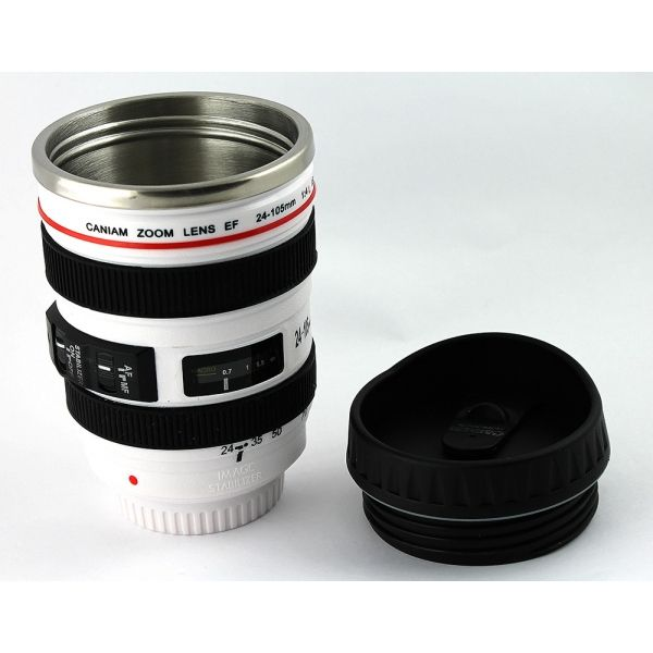 Термостакан в виде объектива от фотоаппарата 3 белый