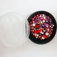 Стразы для ногтей в чёрной баночке, красные, MIX006