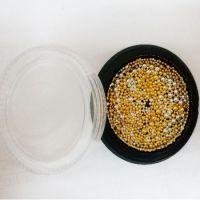 Бульёнки для ногтей в чёрной баночке, золото/серебро, MIX001