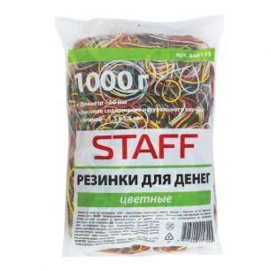 Резинки для денег STAFF, 1000 г, цветные, натуральный каучук, 440119