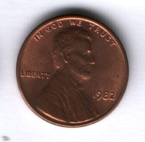 1 цент 1982 года США AUNC