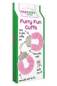 Наручники металлические Toy Joy Furry Fun Cuffs с мехом розовые