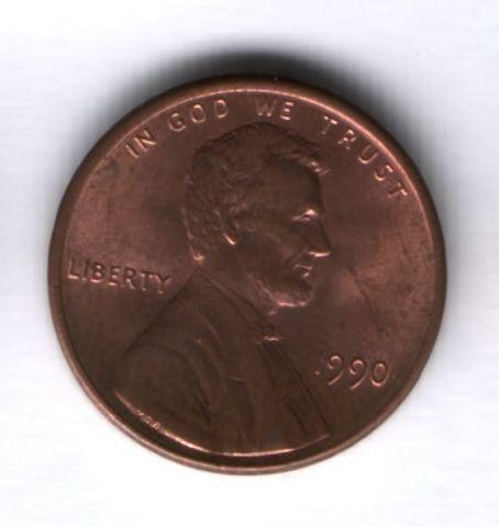1 цент 1990 года США AUNC