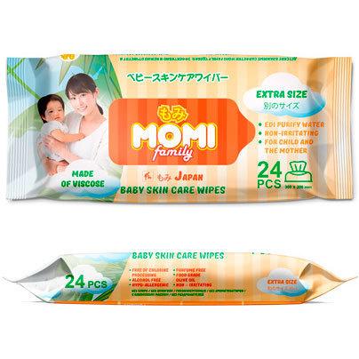 MOMI Family Extra SizeДетские влажные салфетки (полотенца)  24 шт. (300х200mm)