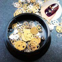 """Дизайн для ногтей в чёрной баночке """"Часовой механизм"""", золото MIX012"""