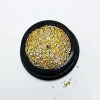 Бульёнки для ногтей в чёрной баночке, золото/серебро MIX001
