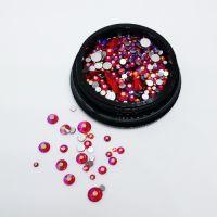 Стразы для ногтей в чёрной баночке, красные MIX006