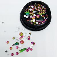 Стразы для ногтей в чёрной баночке, зеленые/розовые, голография MIX007