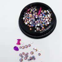 Стразы для ногтей в чёрной баночке, фиолетовые MIX008