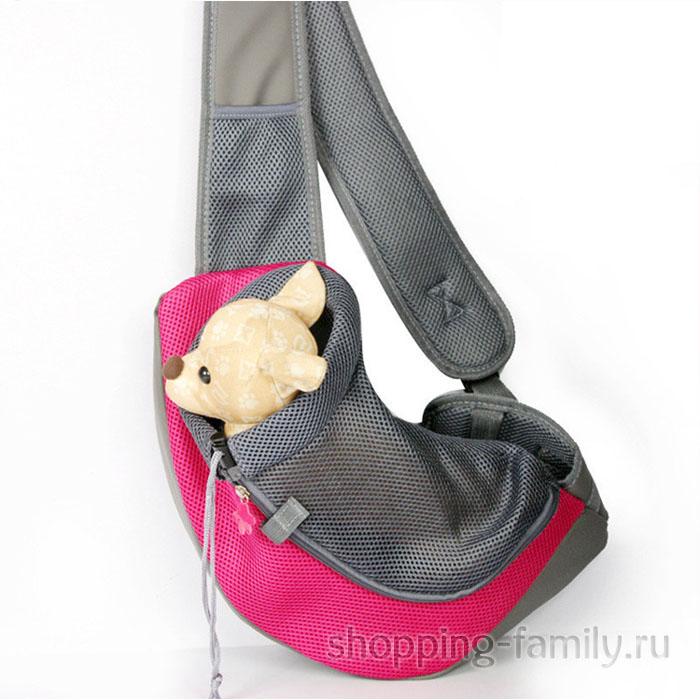 Сумка-переноска для кошек и мелких пород собак Single Shoulder Bag Sling, красная