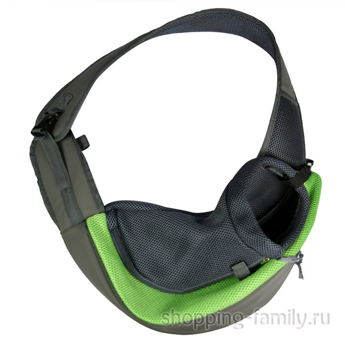Сумка-переноска для кошек и мелких пород собак Single Shoulder Bag Sling, зеленая