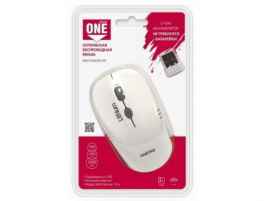 Мышь беспроводная Smartbuy ONE 344CAG бело-серая (зарядка от USB)