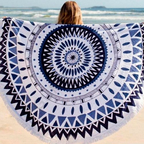 Пляжное полотенце покрывало белое с синим узором