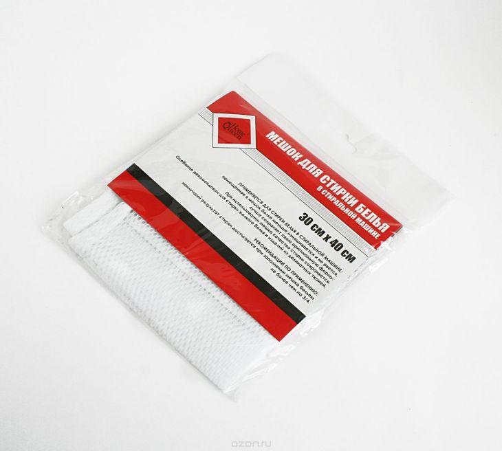 """Мешок для стирки белья """"Home Queen"""", цвет: белый, 30 см х 40 см 56549"""