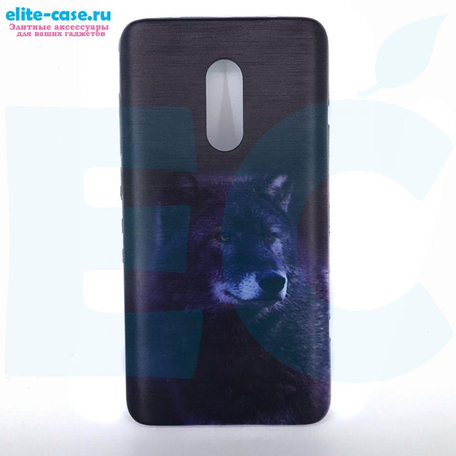 Чехол силиконовый для Xiaomi Redmi Note 4 с рисунком волк