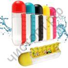 Пластиковая бутылка-органайзер для воды с таблетницей-отсеком для таблеток/витаминов PillBox (600 мл)