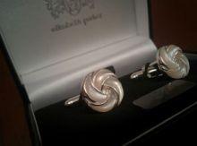 """Серебряные английские запонки с перламутром """"Серебрянный Узел""""  Solid Silver Knot - перламутр и серебро , 925 проба"""