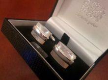 """Серебряные английские запонки с перламутром """"Сатурн"""" - перламутр и серебро , 925 проба"""