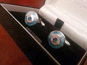 Серебряные английские запонки в форме мишени с голубым и белым перламутром BLUE AND WHITE MOTHER OF PEARL .925 SOLID SILVER TARGET   перламутр и серебро , 925 проба