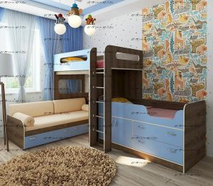 Кровать трехъярусная Фанки Кидз 24+