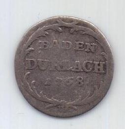 2 1/2 крейцера 1768 г. Баден Дурлах. Германия