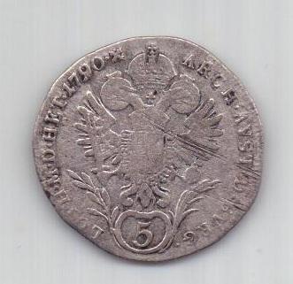 5 крейцеров 1790 г. редкие. Австрия