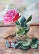 Почтовая открытка Этюд с розой