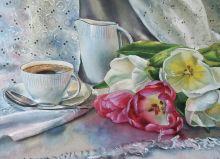 Почтовая открытка Кофейный натюрморт с тюльпанами