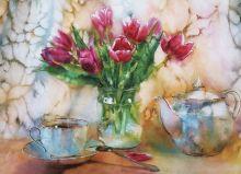 Почтовая открытка Натюрморт с тюльпанами