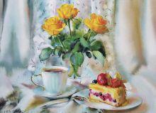 Почтовая открытка Букет желтых роз