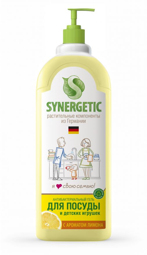 Средство концентрированное для мытья посуды и фруктов ЛИМОН флакон Synergetic (Синергетик) лимон 1000 мл