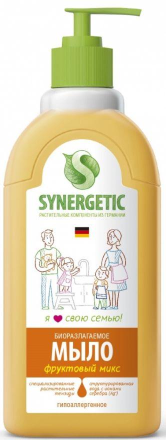 """Мыло жидкое биоразлагаемое для мытья рук и тела """"Фруктовый микс"""" с дозатором Synergetic (Синергетик) 500 мл"""