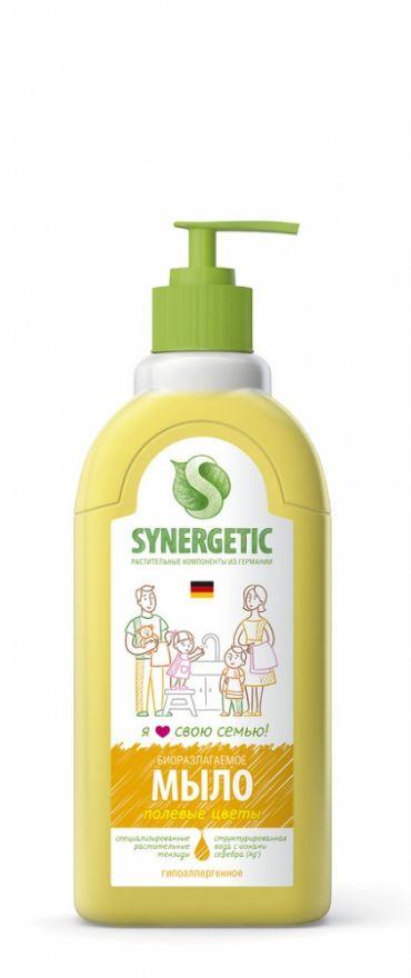 """Мыло жидкое биоразлагаемое для мытья рук и тела """"Полевые цветы"""" с дозатором Synergetic (Синергетик) 500 мл"""