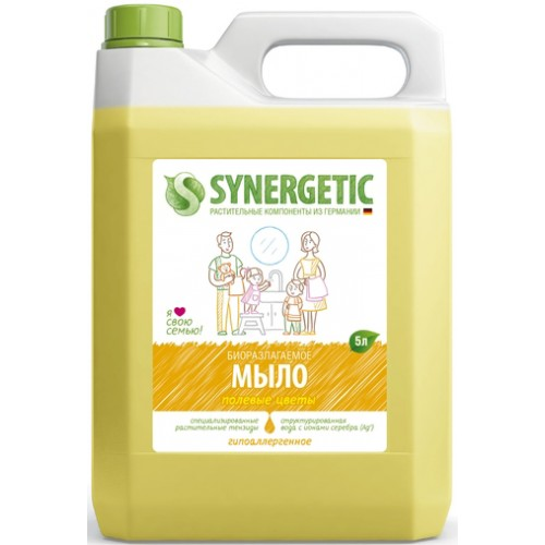 """Мыло жидкое биоразлагаемое для мытья рук и тела """"Полевые цветы"""" Synergetic (Синергетик) 5000 мл"""