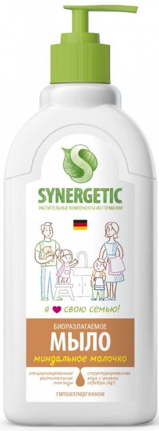 """Мыло жидкое биоразлагаемое для мытья рук и тела """"Миндальное молочко"""" с дозатором Synergetic (Синергетик) 500 мл"""