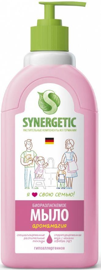 """Мыло жидкое биоразлагаемое для мытья рук и тела """"Аромамагия"""" с дозатором Synergetic (Синергетик) 500 мл"""