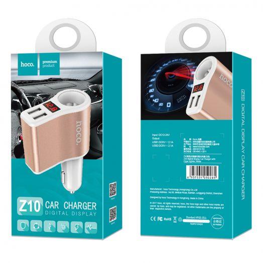 Автомобильное зарядное устройство Hoco Z10,1 гнездо, 2xUSB, черный