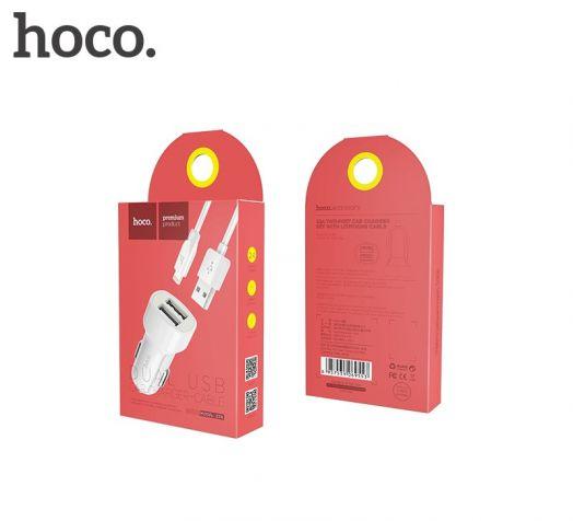 Автомобильное зарядное устройство Hoco Z2A, 2xUSB, Lightning, белый