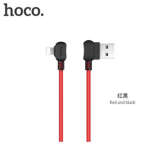 Кабель USB-Lightning Hoco X19 Enjoy, 1м, черно-красный