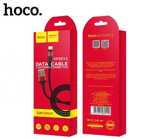 Кабель USB-Lightning Hoco X26 Xpress, черно-красный