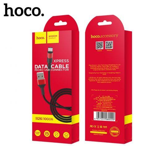Кабель USB-MicroUSB Hoco X26 Xpress, черно-красный